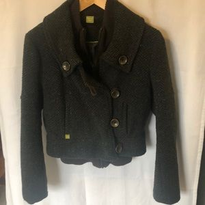 Short wool tweed coat